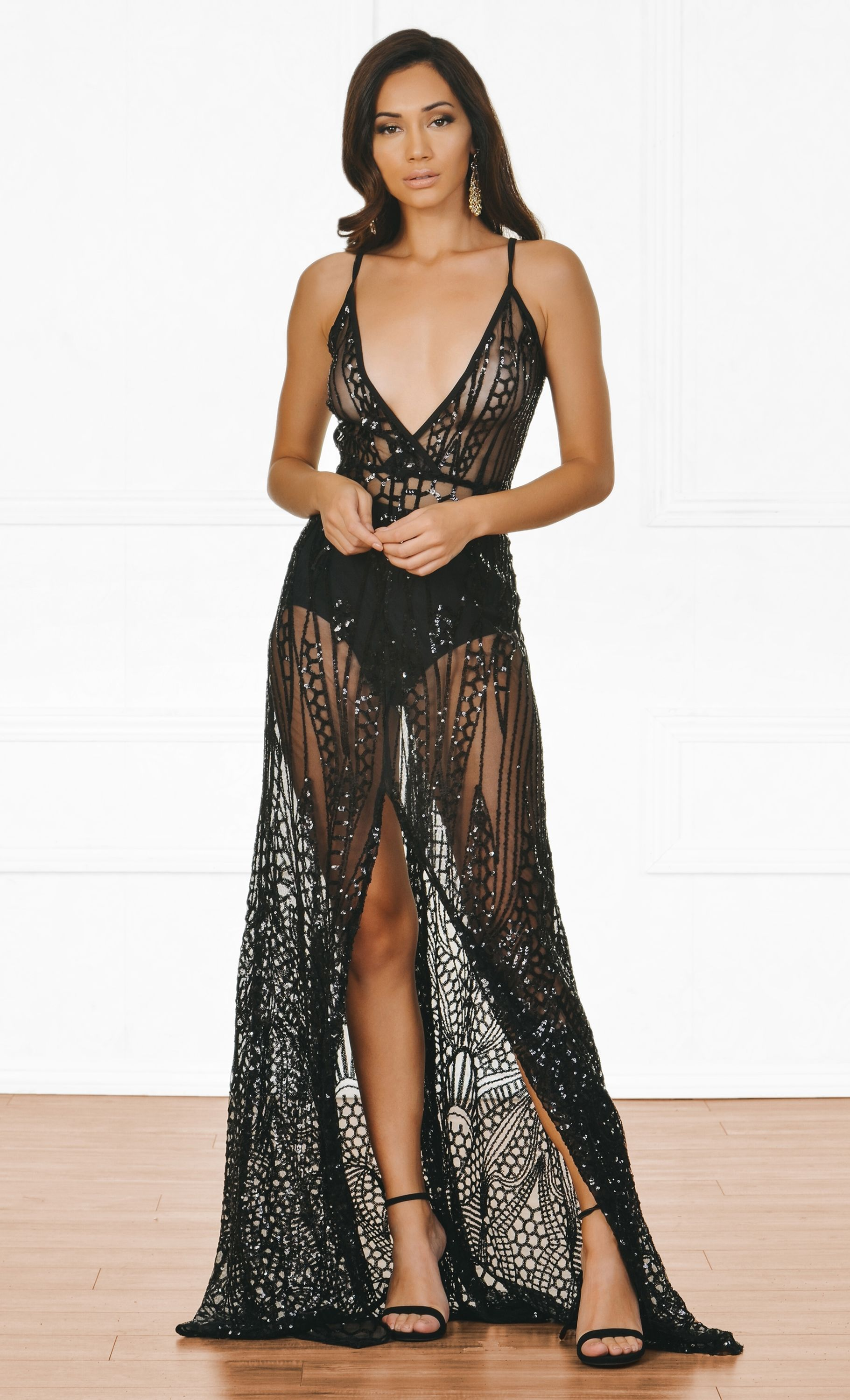 e1de44a88f Indie XO Cause A Scandal Black Sequin Sheer Glitter Geometric Spaghetti  Strap Deep V Neck Double Split Maxi Dress