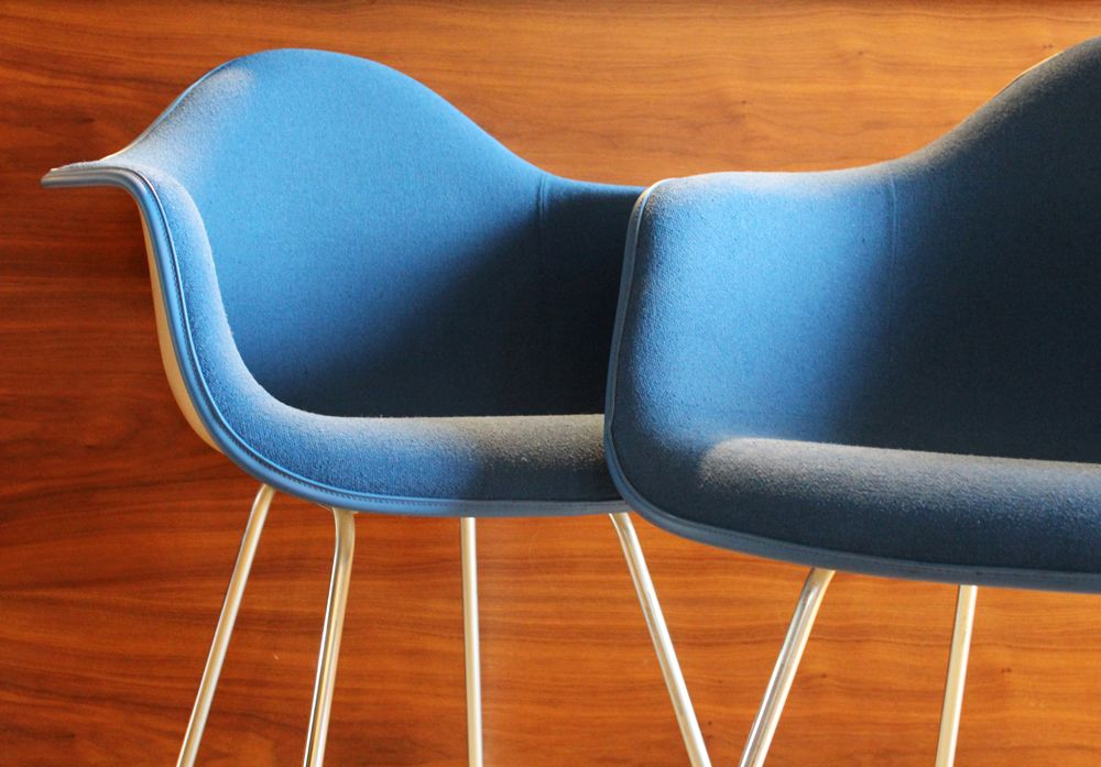 The Blueberries. Two gorgeous classic mid-century pieces of modern design the colour of blueberries!! Seriously Dify-iers, this is an amazing opportunity - two Herman Miller Upholstered Fibreglass Shell Chairs, designed by Charles and Ray Eames.