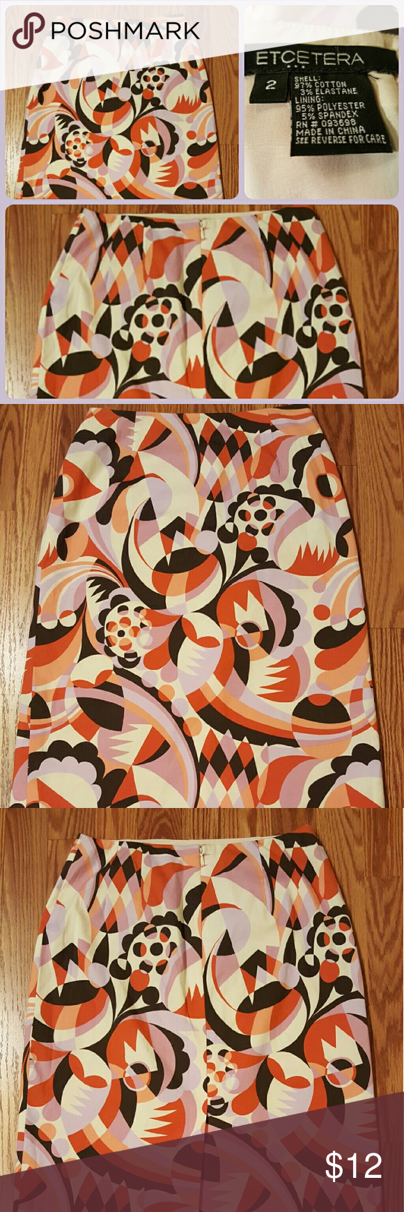 Etcetera Mid Length Skirt This is a beautifully colored Midi Skirt by Etcetera. Zip up back with a slit in the back. Size 2 Etcetera Skirts Midi