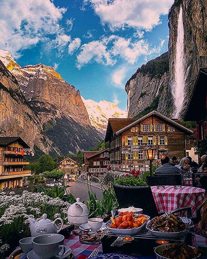 Photo of Having lunch under Staubbach Falls in Lauterbrunnen, Switzerland.