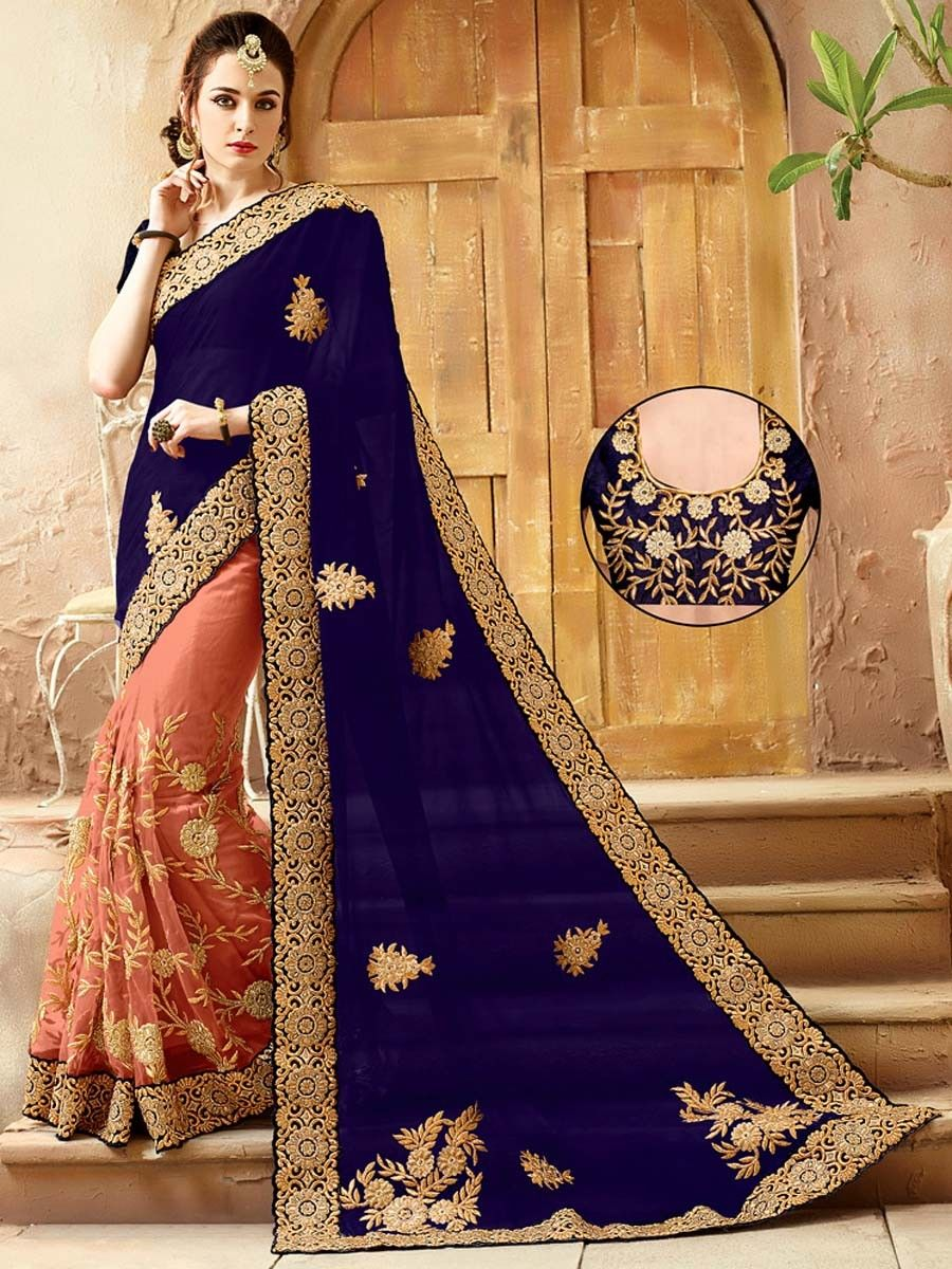 ef4b4ee28a Navy Blue & Peach Saree | sarees | Saree, Satin saree, Peach saree