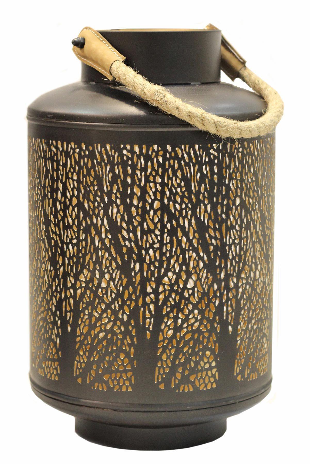 Windlicht 32x20cm Metall Schwarz Gold Kerzenhalter Garten Deko Laterne Mirror Candle Plate Metal Lanterns Glass Candlesticks