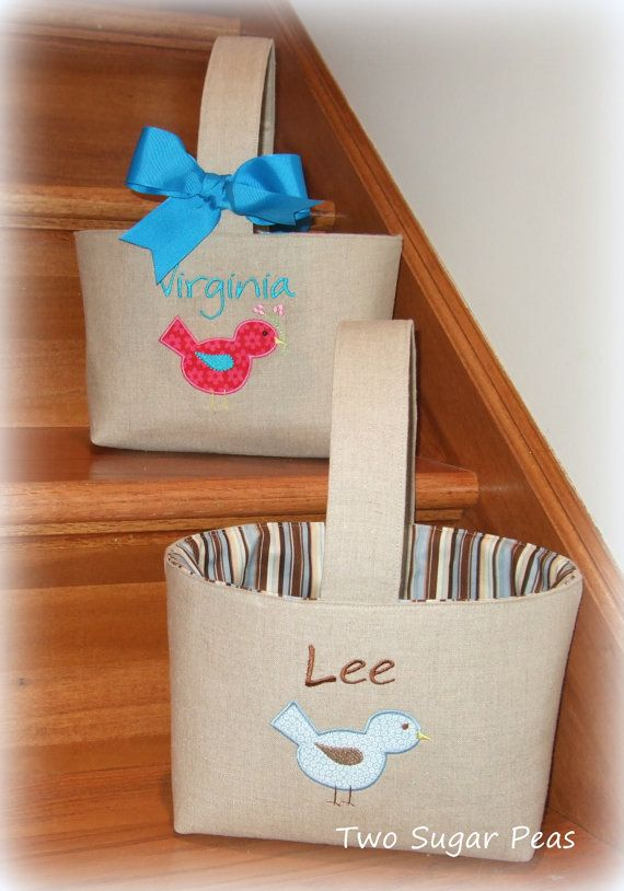 Set of TWO Personalized Easter Baskets with Chick by twosugarpeas