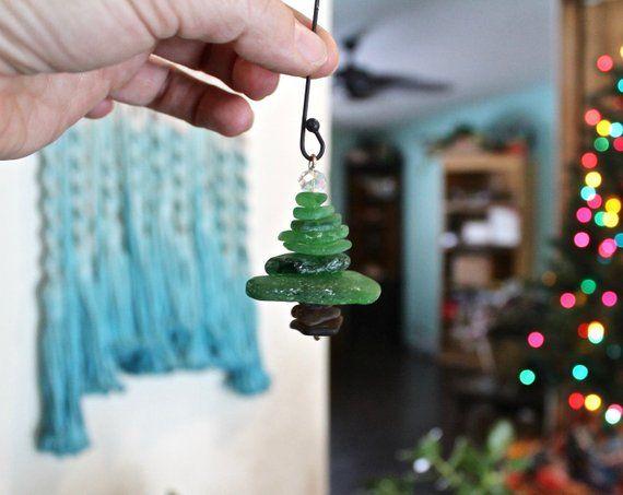 Hawaii Christmas Ornament, Green Sea Glass Ornament ...