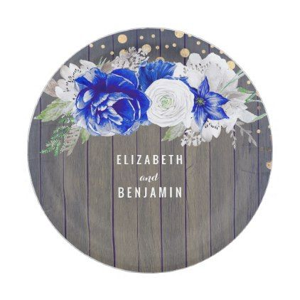 Navy Floral Rustic Wedding Paper Plate | Wedding paper, Weddings and ...