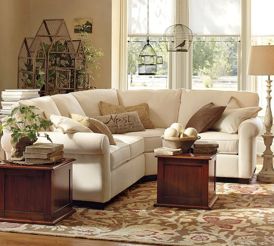 Buchanan Roll Arm Upholstered Curved 3 Piece Sectional With Wedge Small Sectional Sofa Pottery Barn Living Room Small Living Rooms