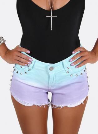 Blue Shorts - Aqua to lilac ombre denim