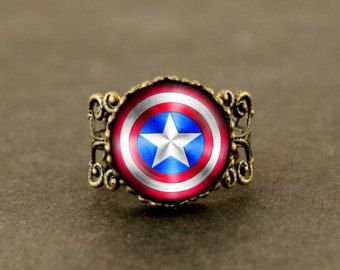 captain america glass Adjustable Ring, Shield ring, the avengers superhero ring jewelry
