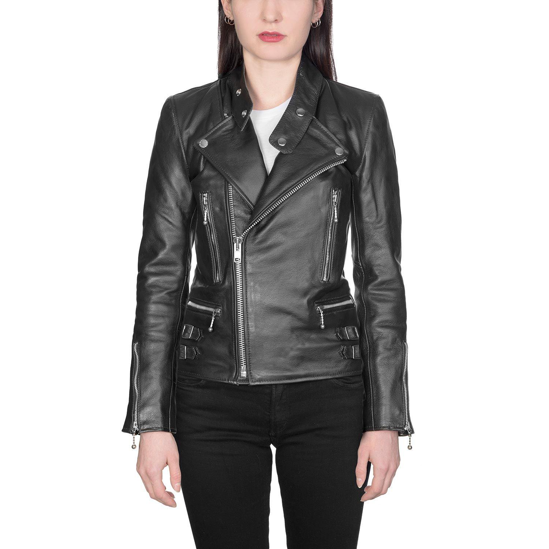 Marauder Black Leather Jacket With Nickel Hardware Original Fit Size M Leather Jacket Womens Black Leather Jacket Leather Moto Jacket [ 1500 x 1500 Pixel ]