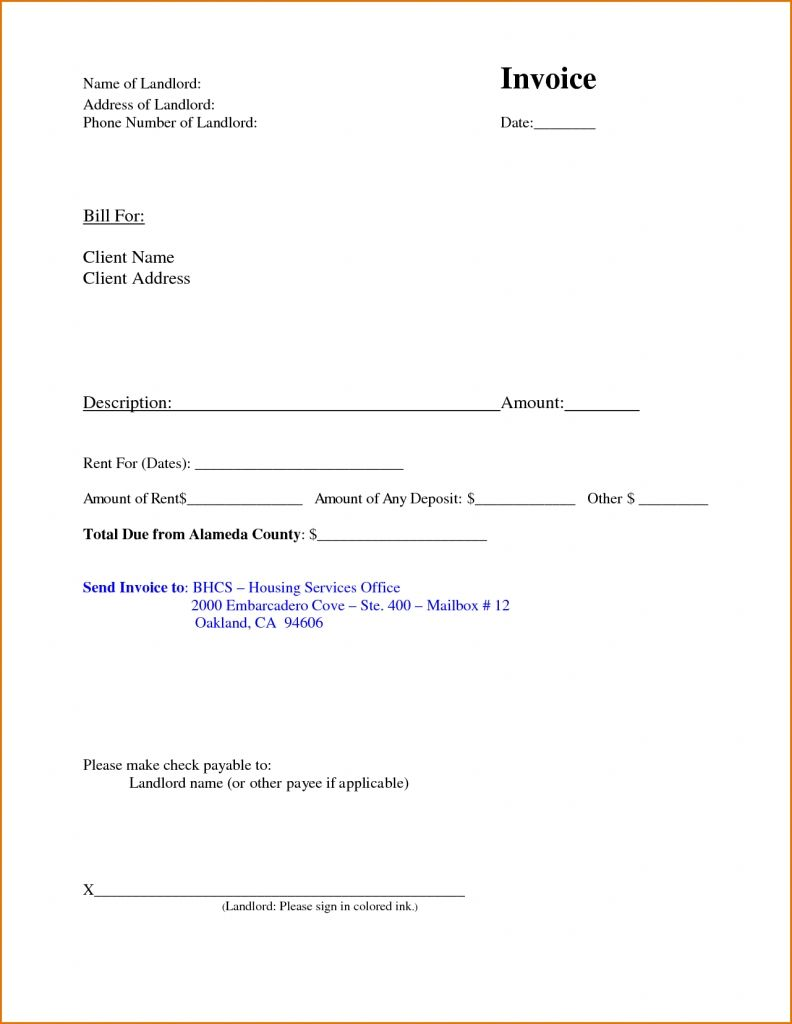 Free Invoice Form Template Rent Invoice Template Free Deposit Receipt Rental Word Templates And .