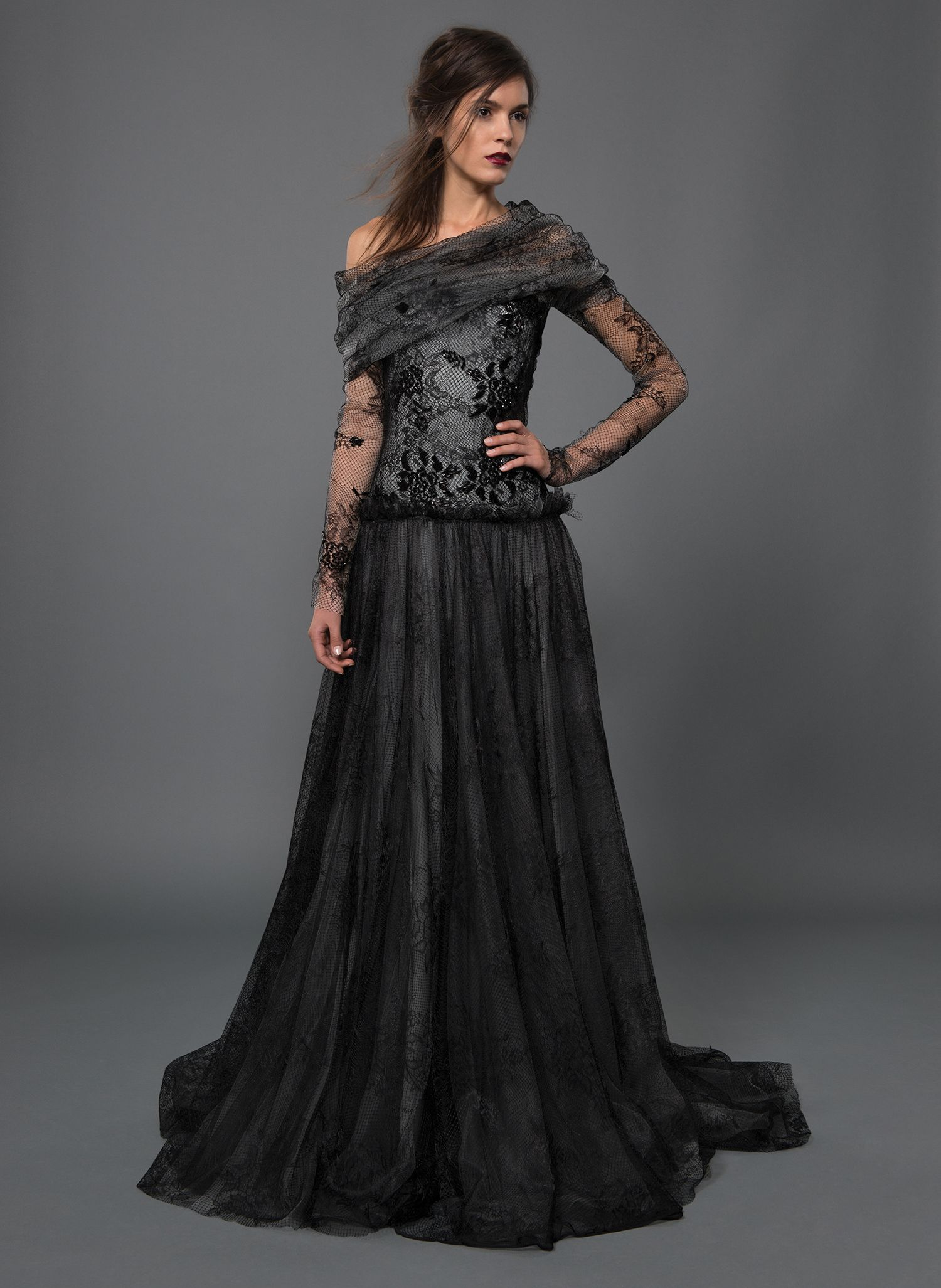 Beaded Tulle And Lace Draped Off Shoulder Long Sleeve Ball Gown In Black Marble Tadashi Shoji Evening Gowns Elegant Gorgeous Dresses Tadashi Shoji Dresses [ 2053 x 1500 Pixel ]