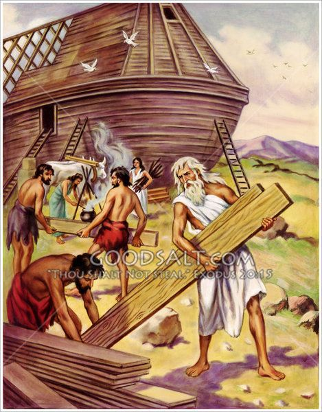 Noah Building The Ark Bible Pictures Noah Building The Ark Leg Sleeve Tattoo