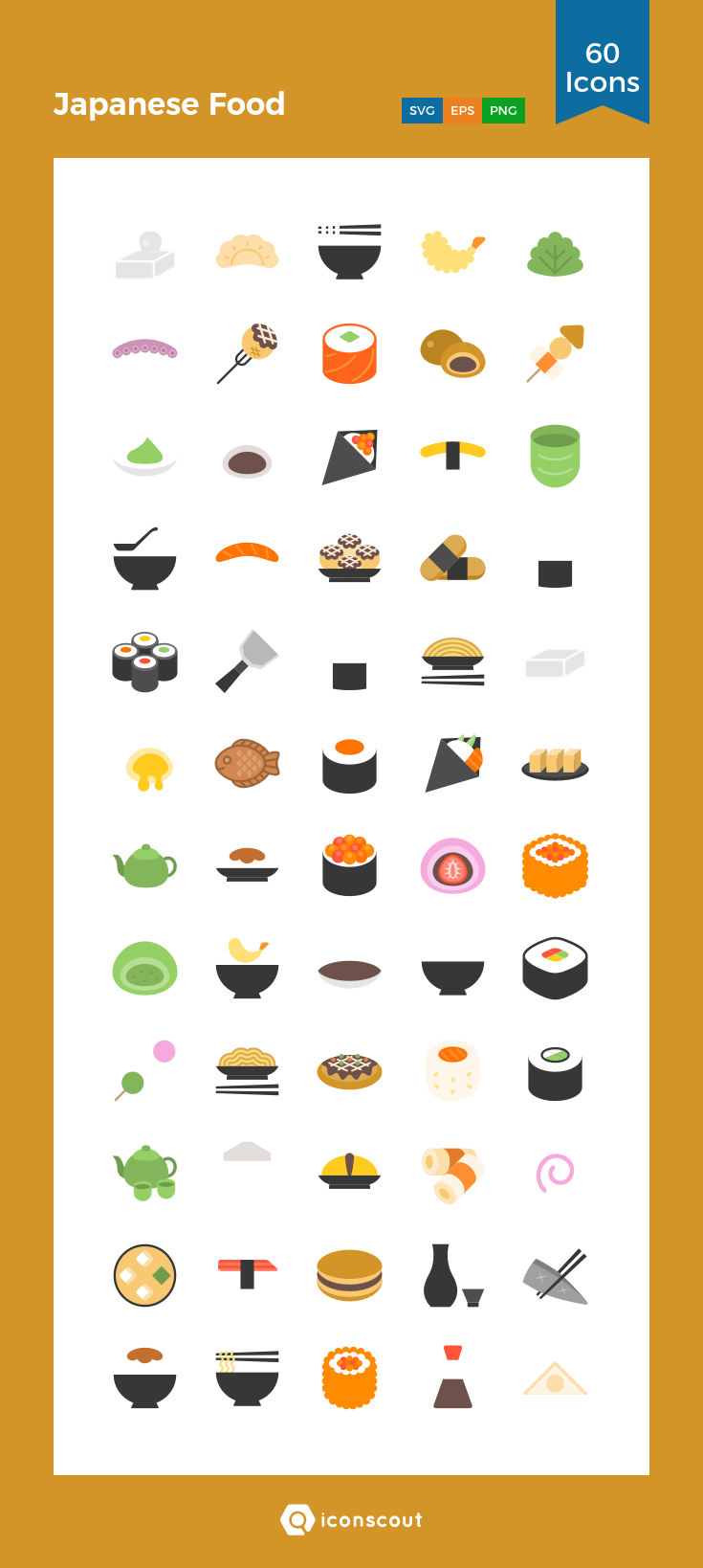Japanese Food Icon Pack 60 Flat Icons