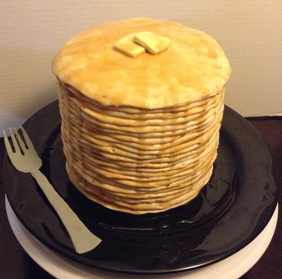 Cake I made for my husband to look like pancakes complete with an