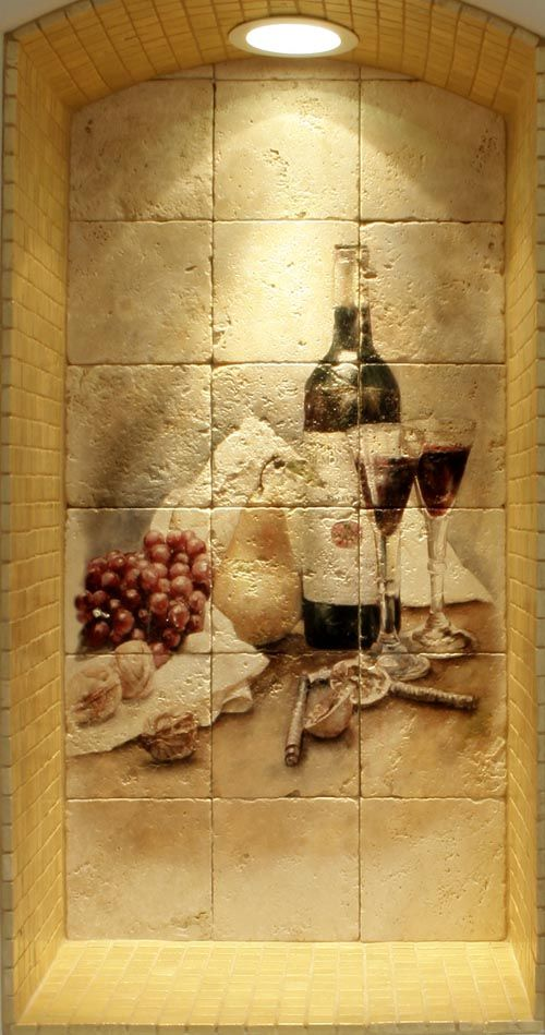 Wine Cellar Design Ideas | Pictures of wine cellar tile murals with ...