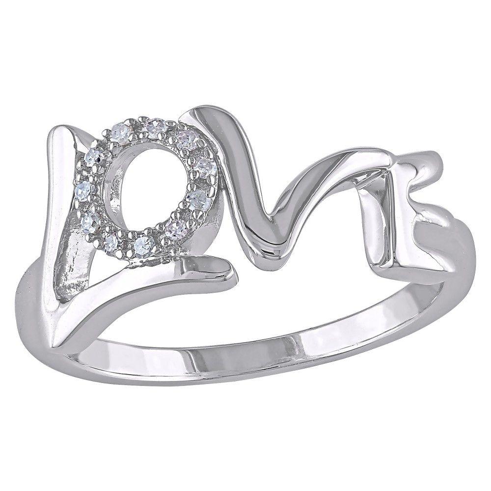 """Allura """"0.06 CT. T.W. Diamond """"""""""""""""Love"""""""""""""""" Ring in Sterling Silver (GH) (I2:I3) ("""