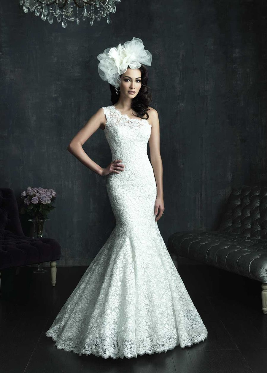 NEW! Charming All-over Lace Mermaid One Shoulder Neckline Natural Waistline Wedding Dress