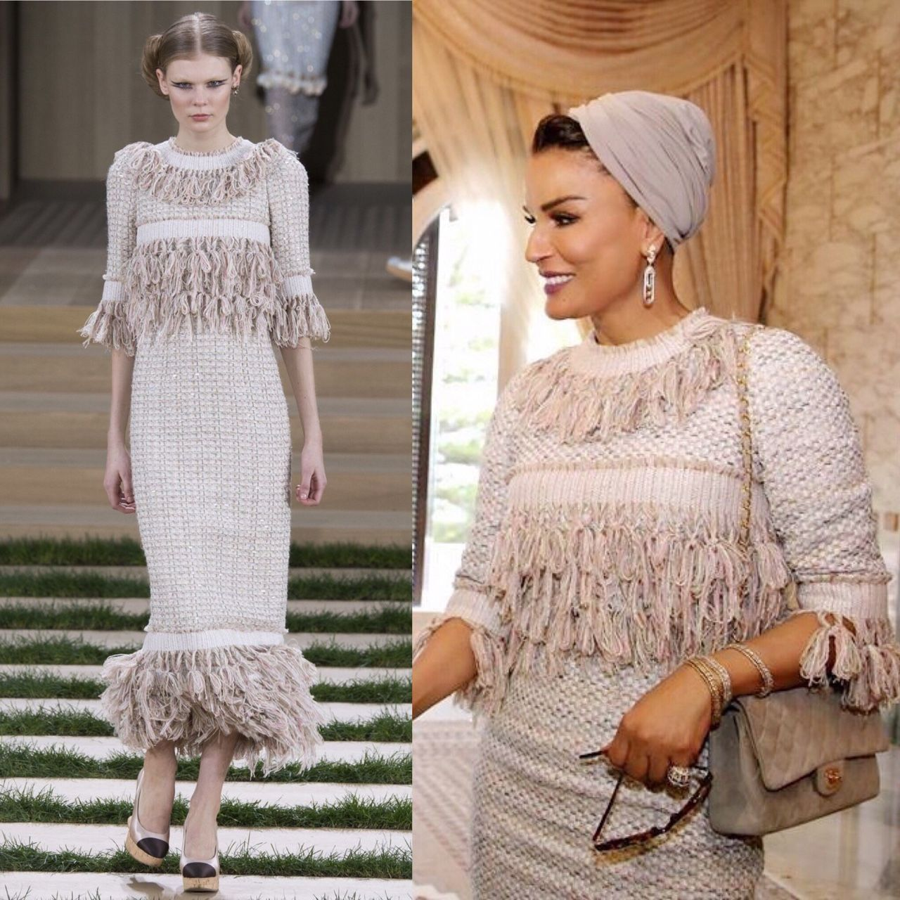 The dress is chanel - It Is Chanel Time Sheikha Mozah Looked Very Chic In Chanel Couture Ensemble From The