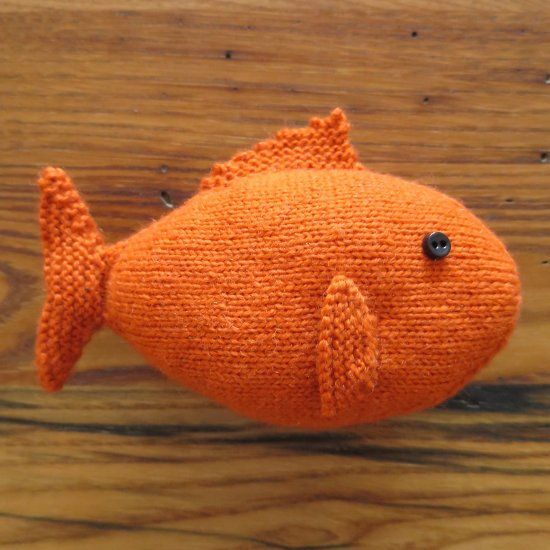 This little fish toy is an easy seamless knit and a great for Little fish toys