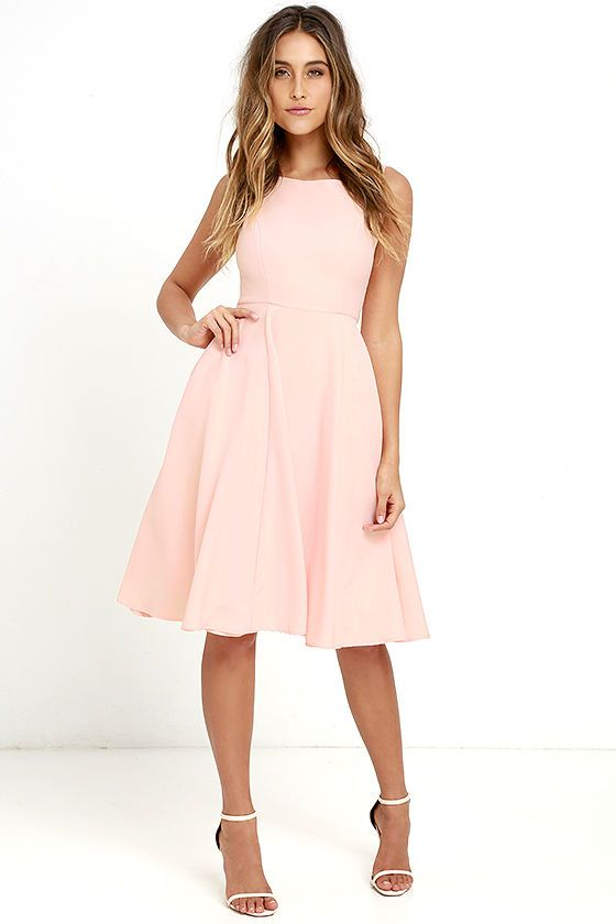 Sweetly Sung Peach Midi Dress Peach Midi Dress Outdoor Wedding Guest Dresses Wedding Attire Guest,Wedding Dress Glitter Top