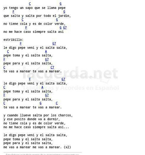 Sapo Pepe Letras Y Acordes Pinterest