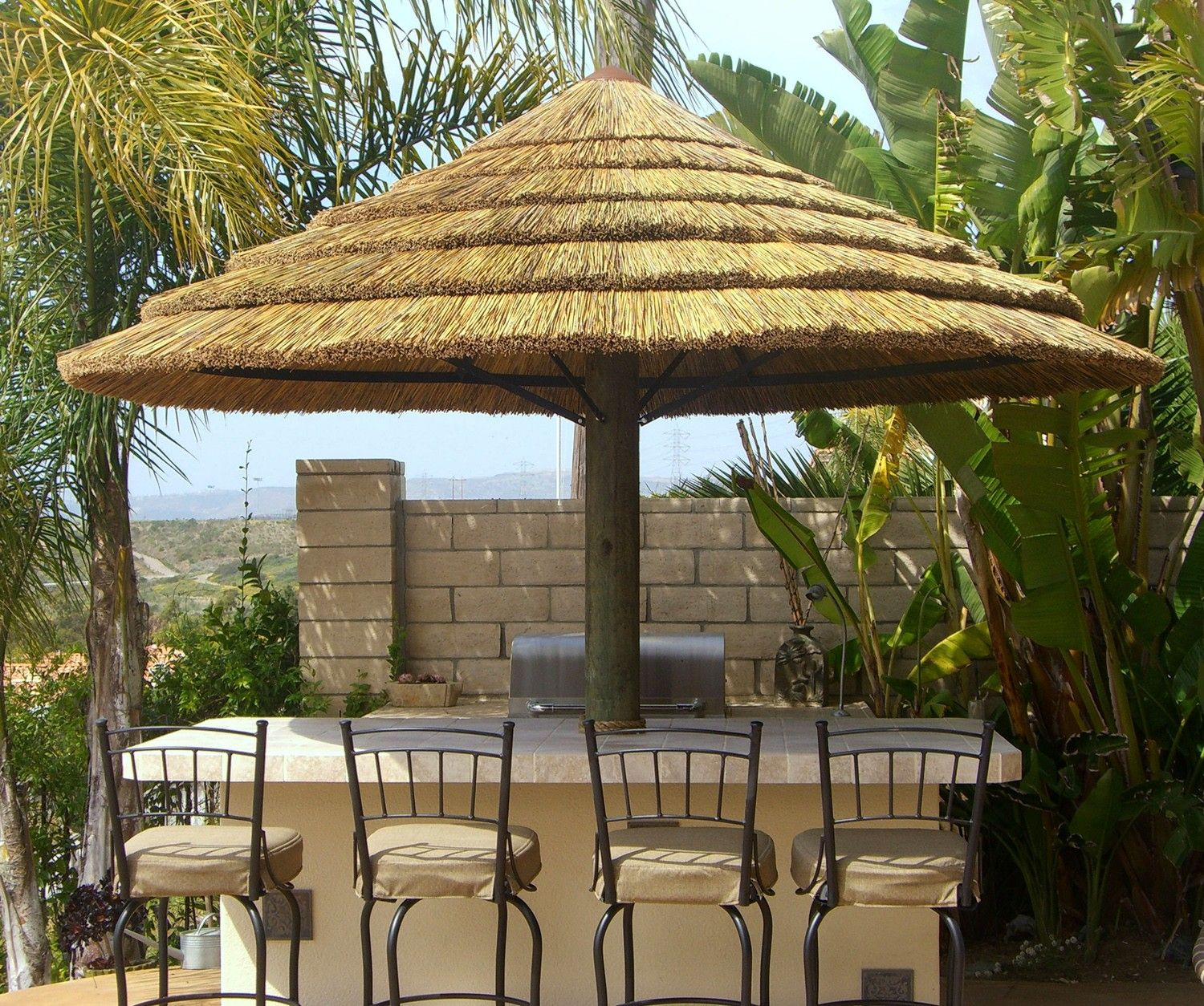 Africa Thatch Reed Umbrella Kit 7 1/2'. Backyard X-Scapes