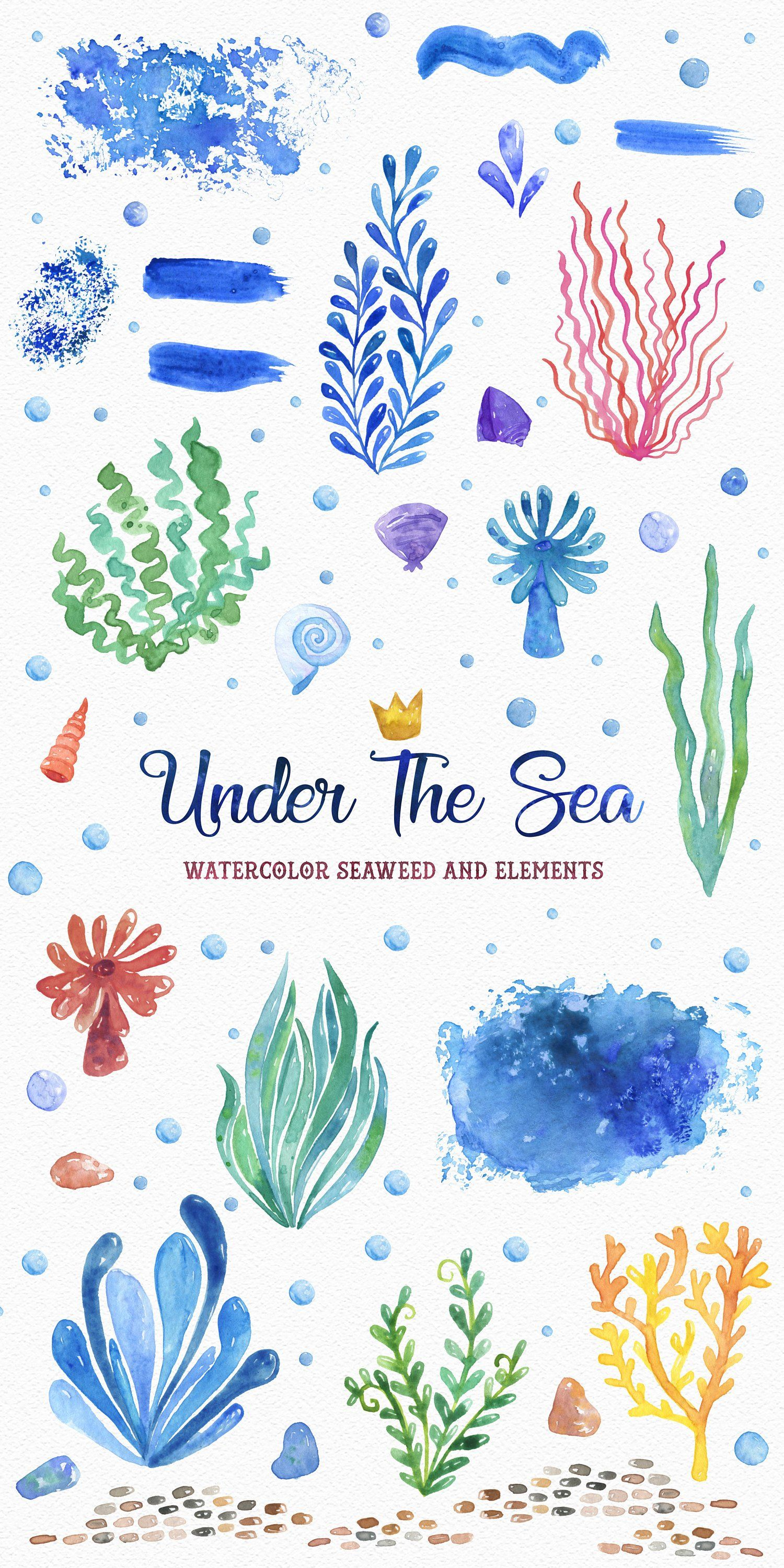 Under The Sea Watercolor Clipart Set Instant Digital Download
