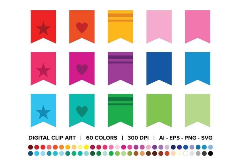 Bookmark Tab Clip Art Set Png Svg Vector Vertical Flag Etsy Banner Clip Art Clip Art Art Set