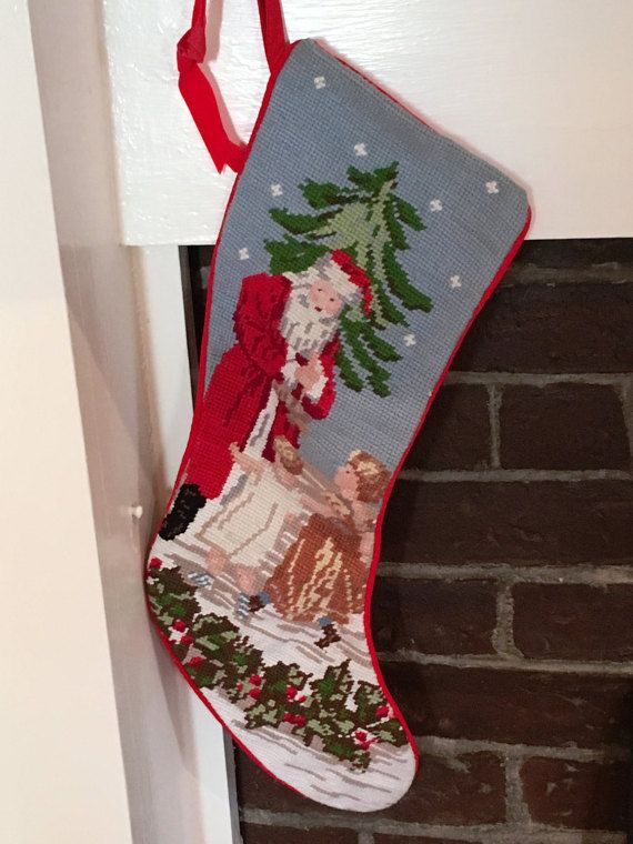 Vintage Needlepoint Christmas Stockings.Vintage Needlepoint Stocking Santa Stocking Hand Stitched