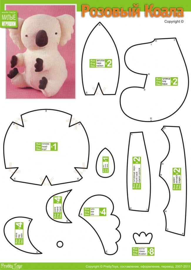 Free Stuffed Plush Koala pattern // patrón peluche koala | Sewing ...