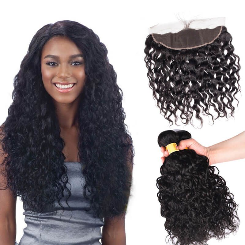 Brazilian Water Wave Hair 13x4 Lace Frontal Closure With 3 Bundles