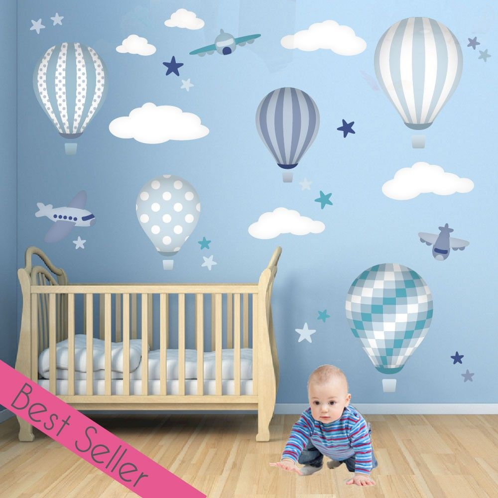 Hot Air Balloon & Jets Wall Stickers Blue and Grey