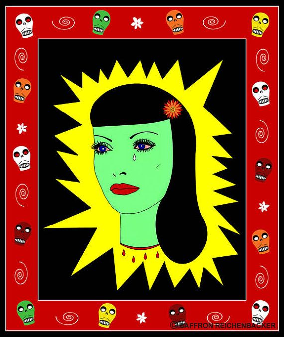 Muerto Amor Mini Print Day Of The Dead Comic Art Lowbrow