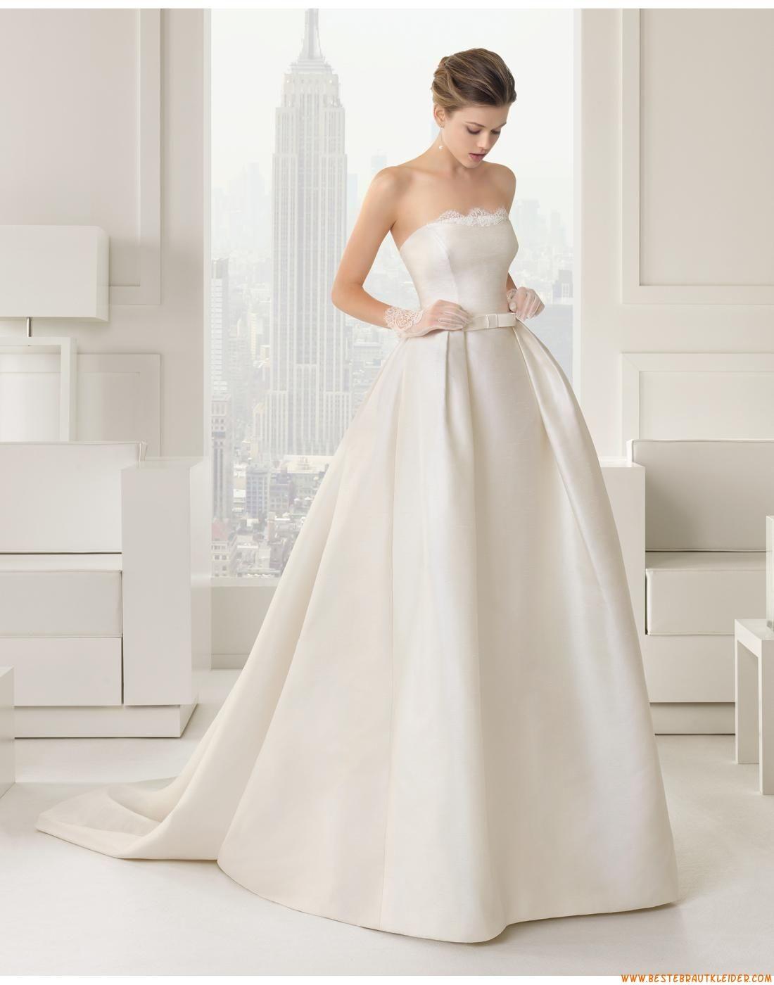 14 A-linie Trägerlose Exklusive Brautkleider aus Satin mit