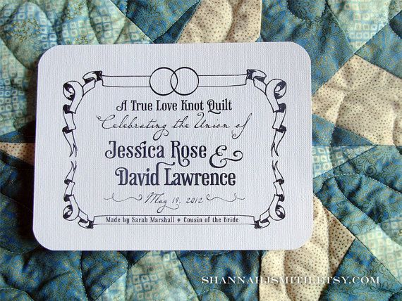 Personalized Wedding Rings Fabric Quilt Label Blanket Patch