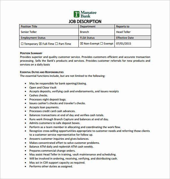 bank teller resume description new 9 bank teller job
