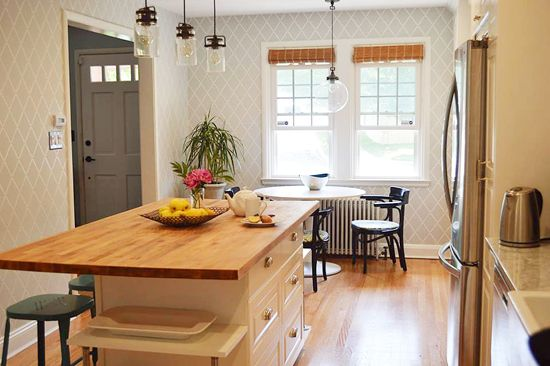 A Gray And White Diy Stenciled Breakfast Nook In A Kitchen That Captivating Kitchen Stencil Designs Inspiration