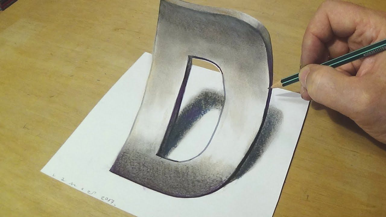 how to draw 3d letter trick art drawing anamorphic illusion for kids