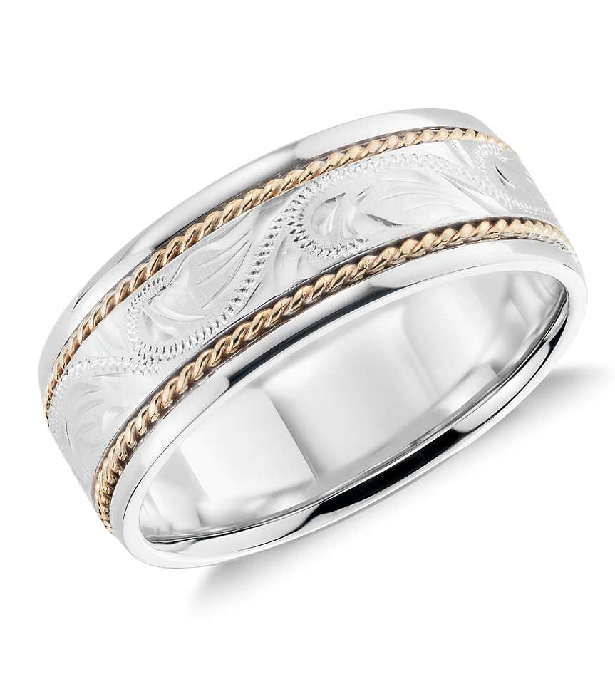 Two Tone Paisley Wedding Ring In 14k White Gold And Yellow Gold 8mm Blue Nile Wedding Ring 14k White Gold Mens Wedding Rings Mens White Gold Rings