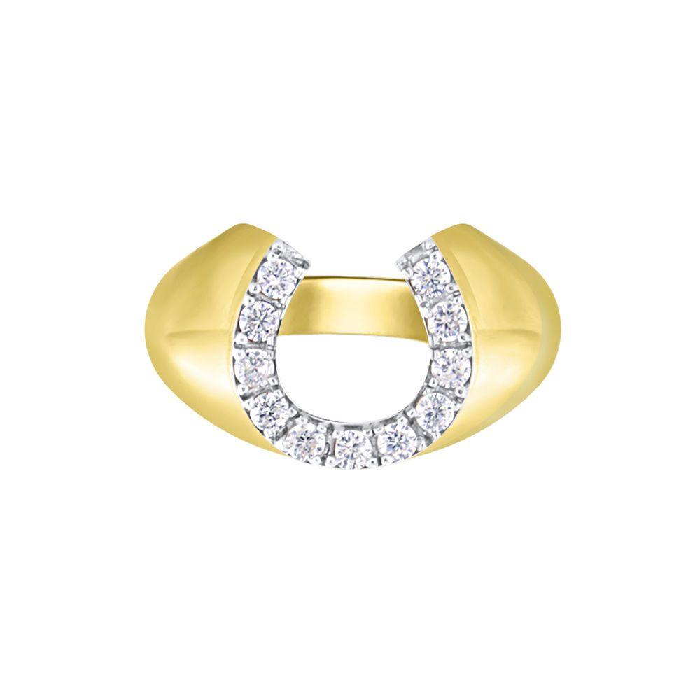 5a92f978ac09d 14k Yellow Gold Over Horseshoe U Shape Round Cut Diamond Pinky ...