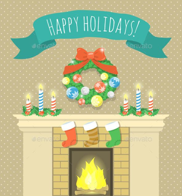 Christmas Fireplace Illustration with Ribbon