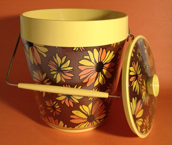 Daisy Kitchen Decor: Mid Century Ice Bucket Daisy Motif Cooler Seventies