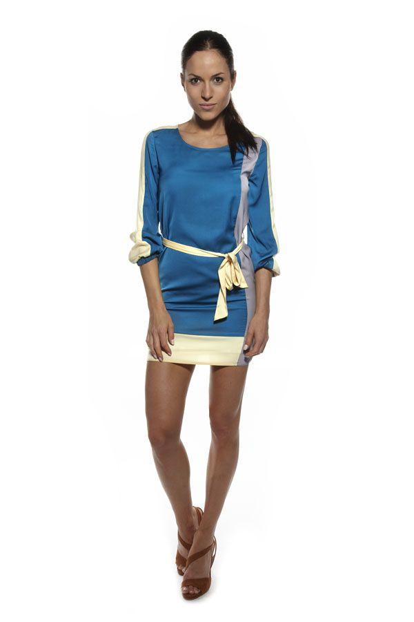 Cupro Multi Colour Long Sleeve Dress  www.anonyme.it