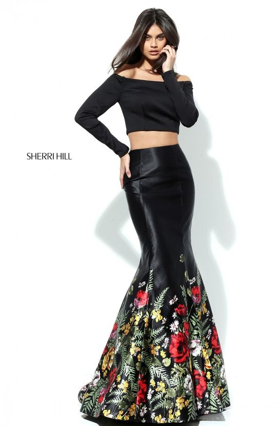 2-Piece: Off-Shoulder Crop Top + Satin Mermaid Maxi Skirt