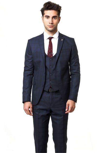 100852d7dba1f Ekose Yelekli Slimfit Takım Elbise (TK_62160_18_22 )   Wessi Suit ...