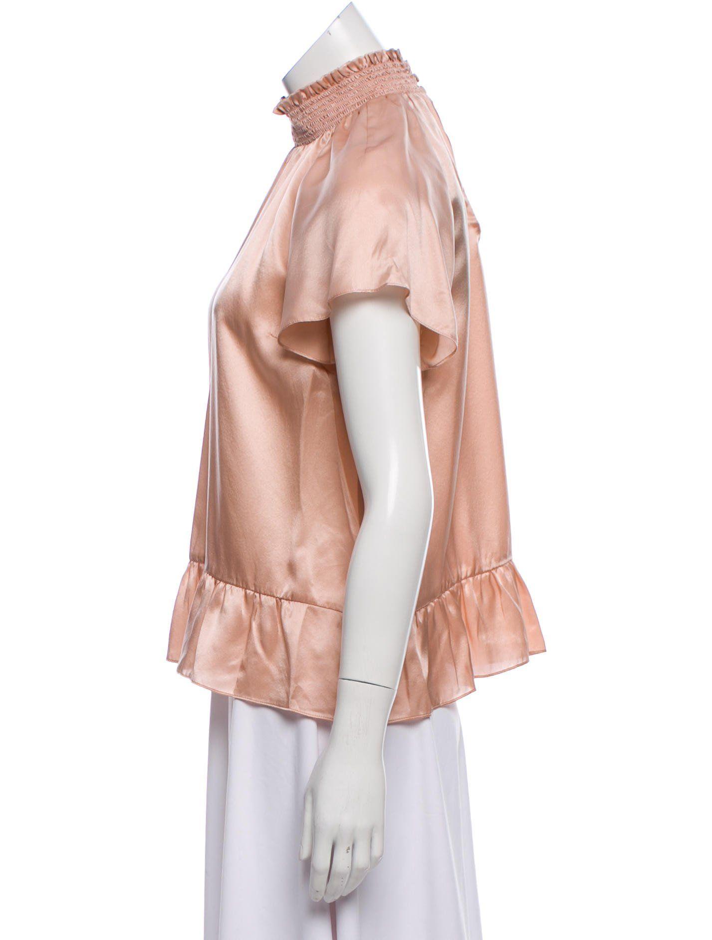 1f8abfc7232 Pink Rachel Zoe silk top with mock neck