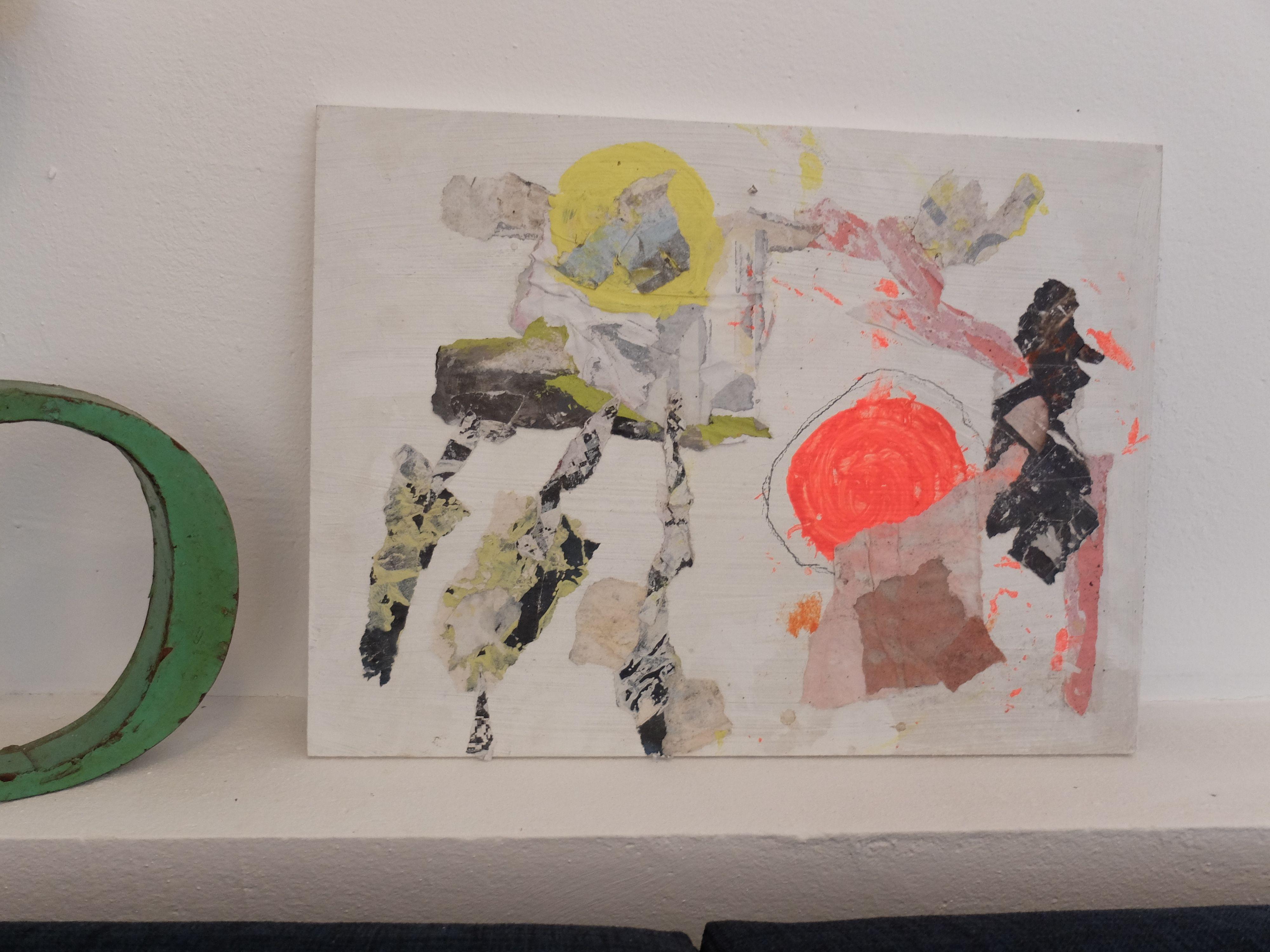 Mischtechnik Collage, Zeichnung, Acryl auf Holz Pia Danner