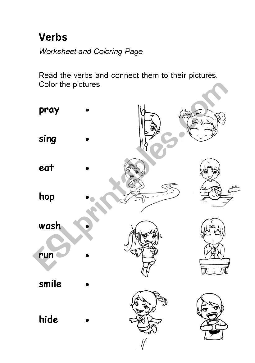Verbs or Action Words (worksheet & coloring page) in 2020