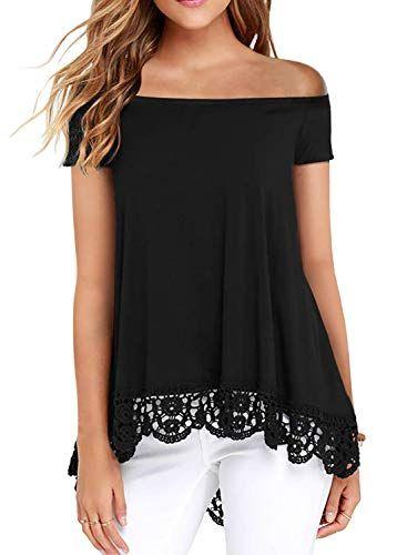 Lovezesent – Camiseta de manga larga con hombros descubiertos y encaje fluido para mujer  – Moda
