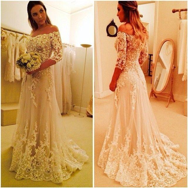 Off Shoulder Appliqued Wedding Dresses 2016 Fashion Half Sleeve Hot A Line Bridal Gowns Sweep Train New Wedding Dress Wedding Collection Wedding Designers From Missudress, $189.7| Dhgate.Com
